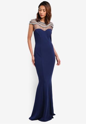 Goddiva navy Embellished Fishtail Maxi Dress 4C9B5AA9A3FFE8GS_1