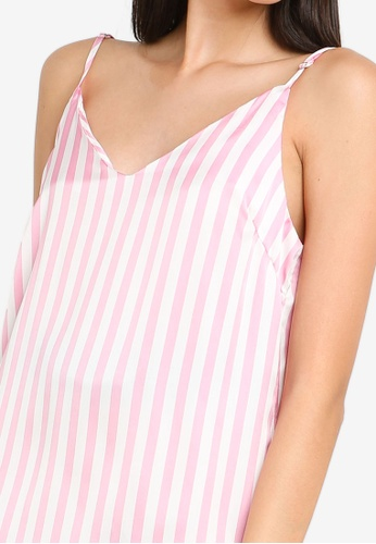6e61e1dc4c723 Buy MISSGUIDED Candy Stripe Satin Deep V Slip Online on ZALORA Singapore