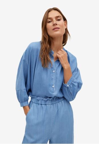 Mango blue Relaxed Denim Blouse F3E0DAA92172A0GS_1