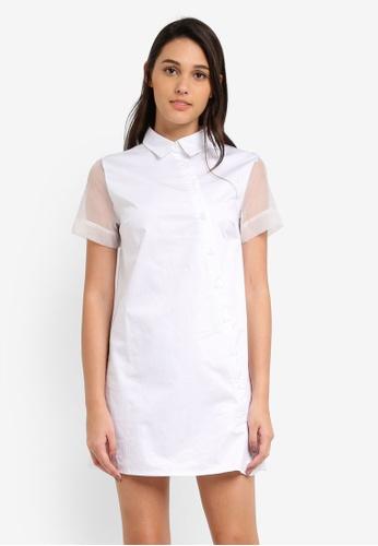 Something Borrowed white Sheer Panel Shirt Dress 9FE95AA516EC70GS_1