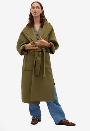Mango green Wool Double-Breasted Coat A9AECAAB3BDE61GS_1
