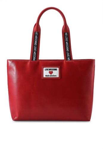 Love Moschino red Canvas Logo Tote Bag 5AB2FACFF66CB5GS_1