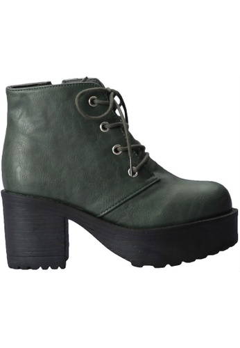 paperplanes green Paperplanes-1704 Fashion Lace-Up High Top Cuban Heel Boots Shoes US Women Size PA355SH71FNCSG_1