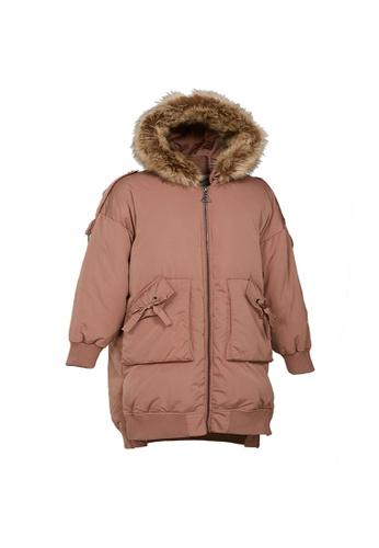 Universal Traveller brown Universal Traveller Trendy Down Jacket With Big Faux Fur Hood - DJW 9043 ADD44AA37ECF87GS_1