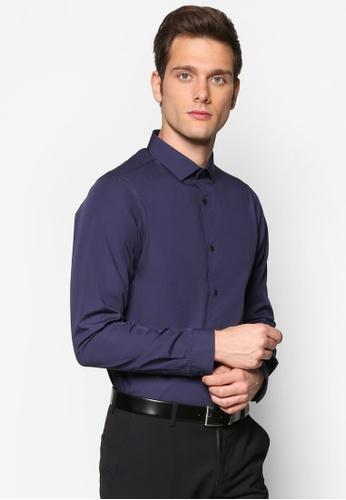 Burton Menswear London 海軍藍色 易熨燙貼身長袖襯衫 BU964AA30YCBMY_1