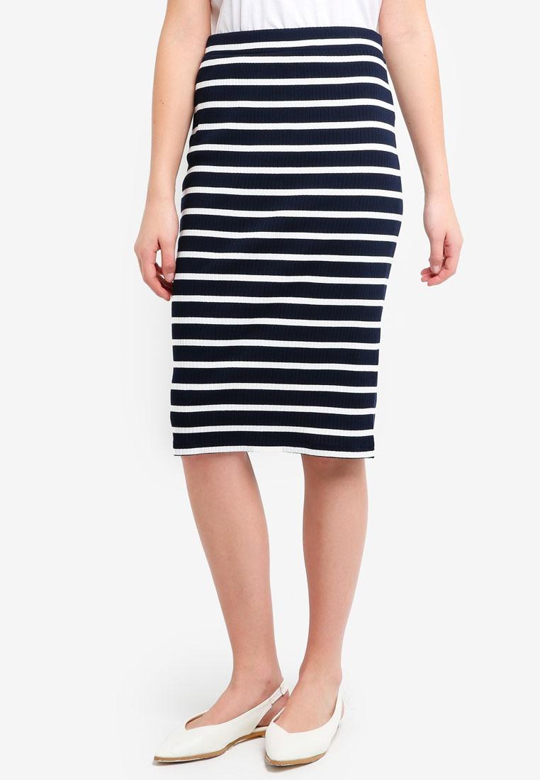 Stripe Knit Republic Stripe Midi Banana Blue Bold Skirt Rib p8xaxnwq7
