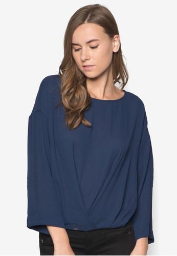 抓褶長袖上衣, zalora 包包評價服飾, 上衣