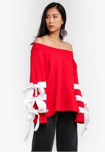 Stylenanda red Off Shoulder Tie Sleeve Sweat Top ST343AA0RV84MY_1