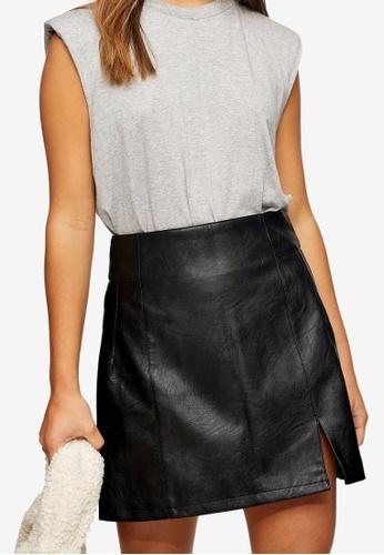 TOPSHOP black Petite Black PU Split Hem Mini Skirt A6FE8AA0DB8D8CGS_1