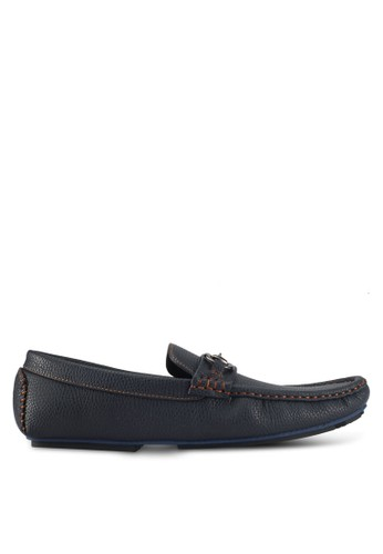 UniqTee blue and navy Pebbled Loafers With Strap Buckle B5521SH985A068GS_1