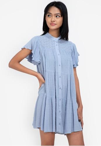 ZALORA BASICS blue Eyelet Shirt Dress 9B94FAA9E6BA29GS_1