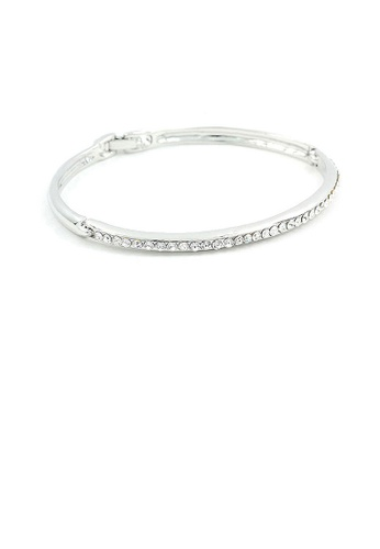 Glamorousky silver Elegant Bangle with Silver Austrian Element Crystals 3BC9FAC0612584GS_1