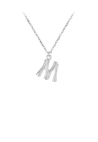 Glamorousky silver Fashion Simple English Alphabet M 316L Stainless Steel Pendant with Necklace 21F16ACD1E279BGS_1