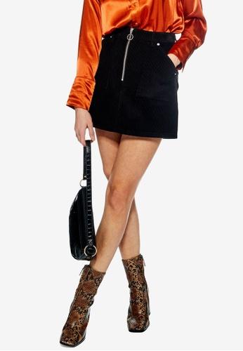 TOPSHOP black Petite Corduroy Zip Skirt 5C2E8AAFD1915BGS_1