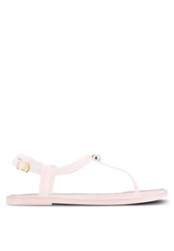 Velvet pink T-Strap Gel Sandals 7E124SHE23EDD9GS_1