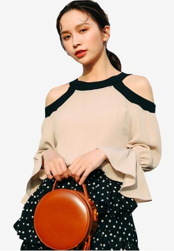Shopsfashion beige Split Shoulder Color Block Blouse 93BFDAAE3F9430GS_1