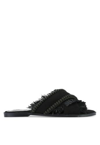 Something Borrowed black Fringed Slide Sandals 6B822SH65E0C75GS_1