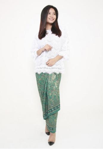 Naphthys Collection green and multi and gold Batik Skirt/Sarong/Songket 085DCAA7ADAC2CGS_1