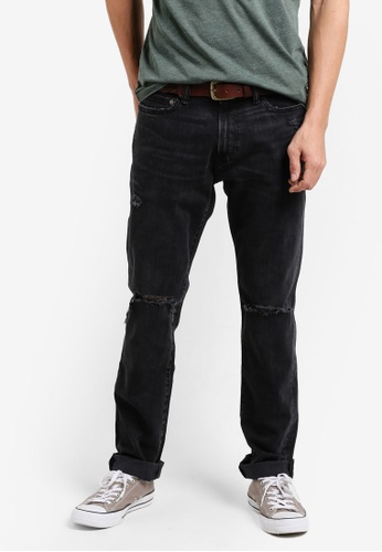 Abercrombie & Fitch black Slim Destroy Black Jeans AB423AA90IQNMY_1