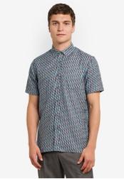 Topman blue and multi Geo Dobby Short Sleeve Casual Shirt TO413AA24FTFMY_1