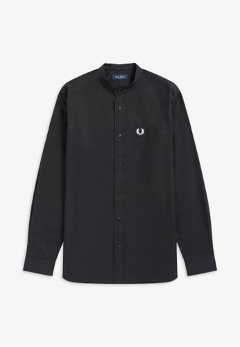 Fred Perry black M9603 - Grandad Collar Shirt - (Black) AA6B9AA204034FGS_1