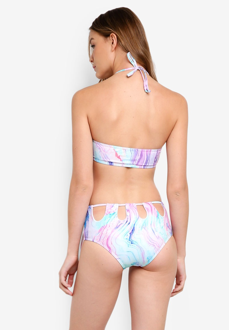 Out Pastel Multi Print Cut Beach Bikini Marble South Waist High 56wqXgv4