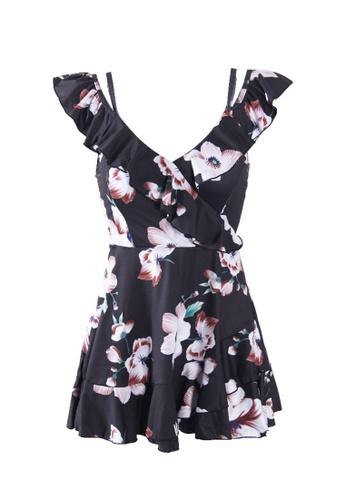 ZITIQUE black Women's Floral Pattern One-piece Swimsuit - Black 58B76USF6454C7GS_1