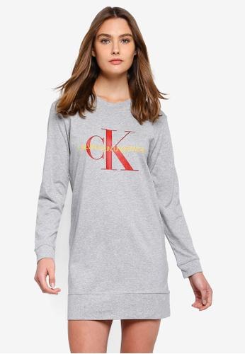 Calvin Klein grey Monogram Long Sleeve Night Shirt - Calvin Klein Underwear 82C08AAAF481B4GS_1