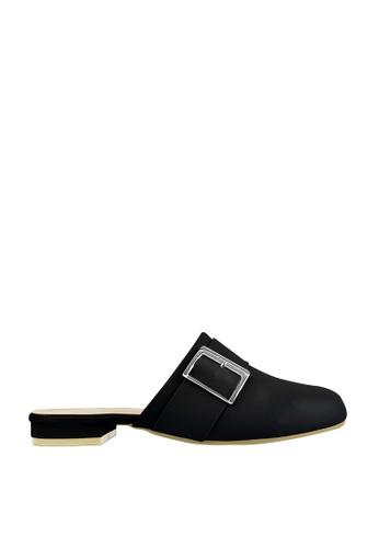 CO BLANC black CO BLANC Round Toe Flat Mules with Buckle 827A9SHA44C7B7GS_1