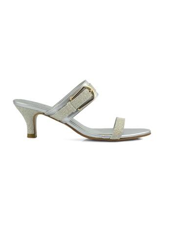 SHINE beige Slip On Buckle Mule Heels SH554SH0FVIXSG_1