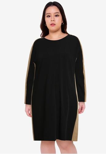 Violeta by MANGO black Plus Size Contrast Detail Dress 9F1A5AAFFB068FGS_1