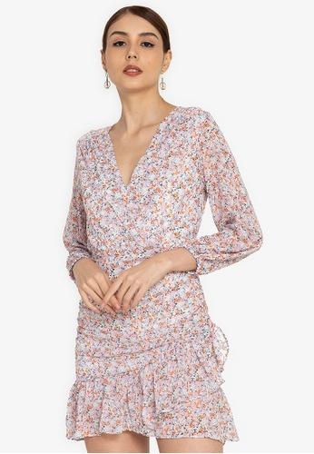 ZALORA OCCASION multi Long Sleeve Wrap Mini Dress 0B4F0AABAB28C9GS_1