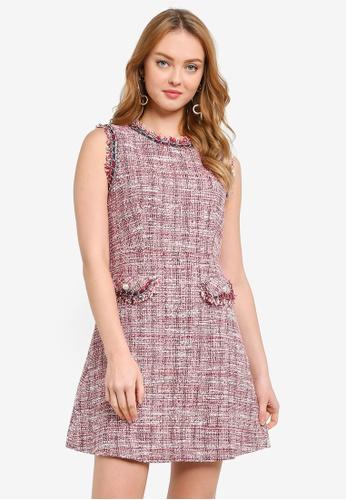 Hopeshow red Sleeveless Linen Stitch Mini Dress B4950AA4A261EAGS_1
