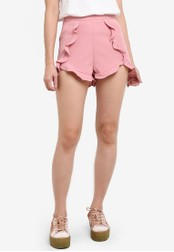 Something Borrowed pink Shorts With Crossover Ruffles 9A625AAF586E71GS_1