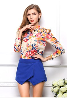 Women's Trendy Floral Chiffon Shirt
