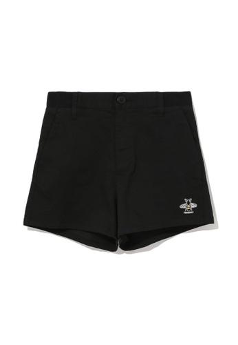 Fingercroxx black Logo print chino shorts F5D33AA5E0D36DGS_1