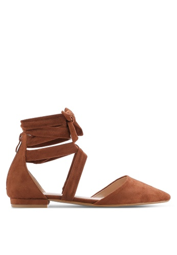ZALORA brown Laced Up Ankle Strap Flats 42174SH5F2AF75GS_1