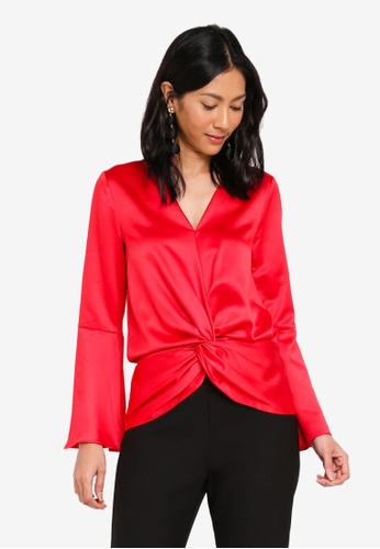 Lipsy red Red Splt Sleeve Knot Blouse 9CDF3AA9D10E26GS_1