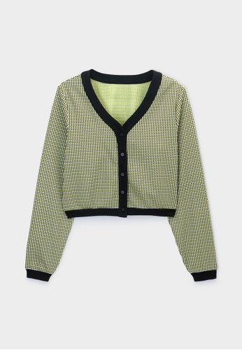 Pomelo yellow Houndstooth Knit Crop Cardigan - Yellow 63B9CAAE7C7F9FGS_1