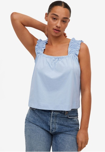 Mango blue Ruched Cotton Top C3AA5AA944BCF7GS_1