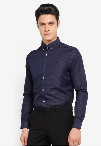 Burton Menswear London navy Navy Blue Tipped Collar Long Sleeve Shirt BU964AA0SR8DMY_1