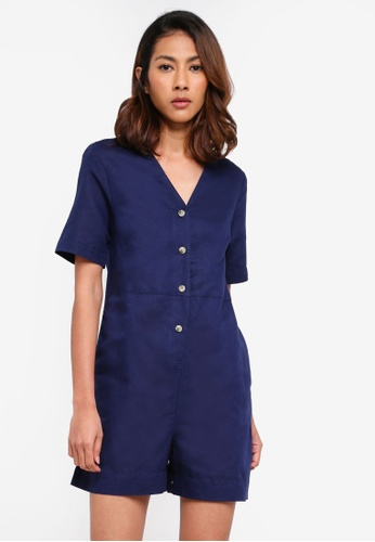 f874ccd733f Buy WAREHOUSE Linen Button Playsuit Online on ZALORA Singapore