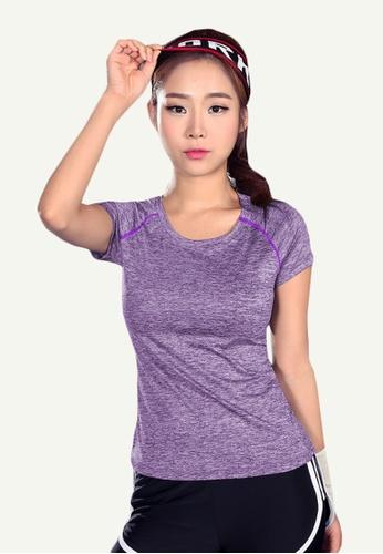 B-Code purple ZYG5112-Lady Quick Drying Running Fitness Yoga Sports Casual Top-Purple 3E486AA4B1F118GS_1