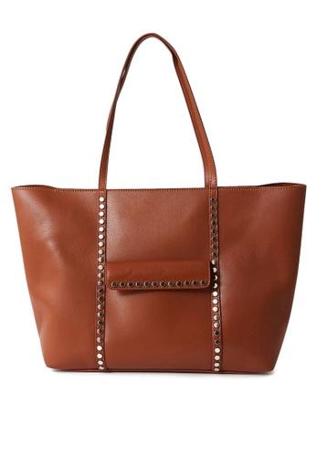 PIMKIE brown Studs Tote Bag 72209AC9CD3288GS_1