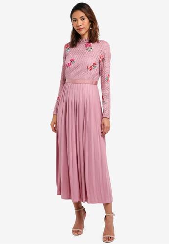 Little Mistress pink Embroided Lace Dress 7A698AA83BA5D3GS_1