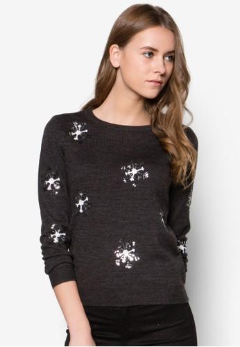 耶誕節zalora 內衣亮片雪花長袖上衣, 服飾, 毛衣& 針織外套