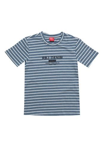 RBJ blue Stripe Pattern Fashion Tee Kids E82E5KA75DE6B3GS_1