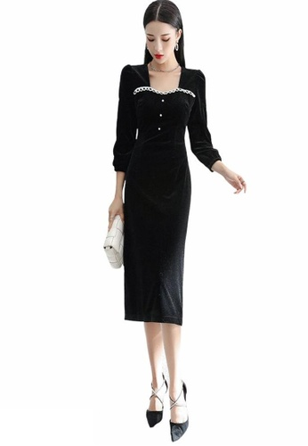 Crystal Korea Fashion black Temperament waist slimming velvet one-piece dress black party dress 2BEB6AAFB5D14EGS_1