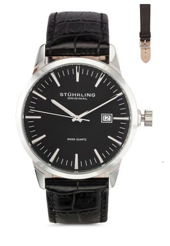 Stuhrling Original black Black Alligator Watch Set ST251AC0RFIWMY_1