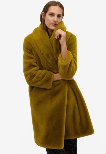 Mango yellow and green Fluffy Long Coat A8CD1AA0DADC1AGS_1